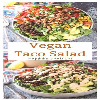 Black Bean Taco Salad w/ Crunchy Roasted Chickpeas With a variety of textures, bold flavors, and ap