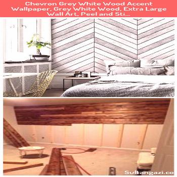 Chevron Grey White Wood Accent Wallpaper  Grey White Wood  Extra Large Wall Art  Peel and Sti    Ch