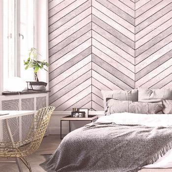 Chevron Grey White Wood Accent Wallpaper, Grey White Wood, Extra Large Wall Art, Peel and Sti... Ch