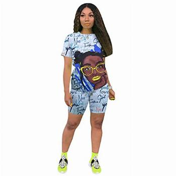 Chic 2 Piece Outfits Womens Crew Neck Sweatsuits Summer