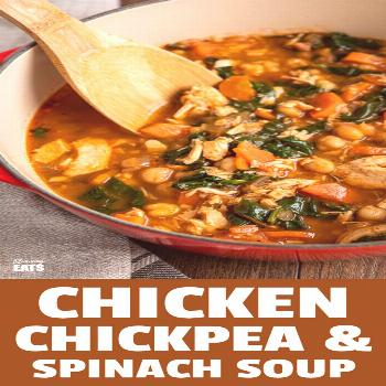 Chicken Chickpea Spinach Soup (from ) -a healthy hearty and delicious soup that is both high in p