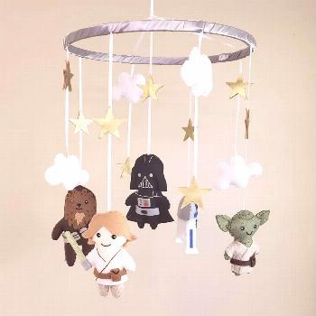 Handmade Star Wars Character Baby Mobile! This awesome baby mobile features felt versions on Luke S