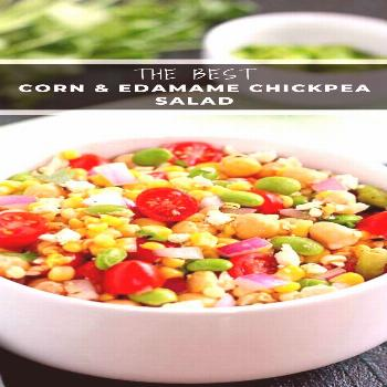 Jam-packed with corn, edamame, chickpeas, and tomatoes, this Corn, Edamame and Chickpea Salad is fu