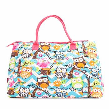 Quilted Cotton Owl Chevron Extra Large Tote Bag (Aqua/Hot Pink),