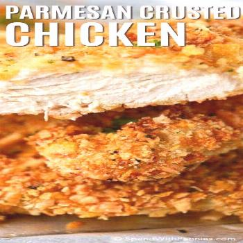 This Parmesan Chicken is so good and crispy nobody will ever believe that it's oven baked! The best