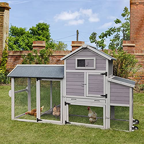 Chicken Coop with Run Outdoor Hen House with Large Nesting