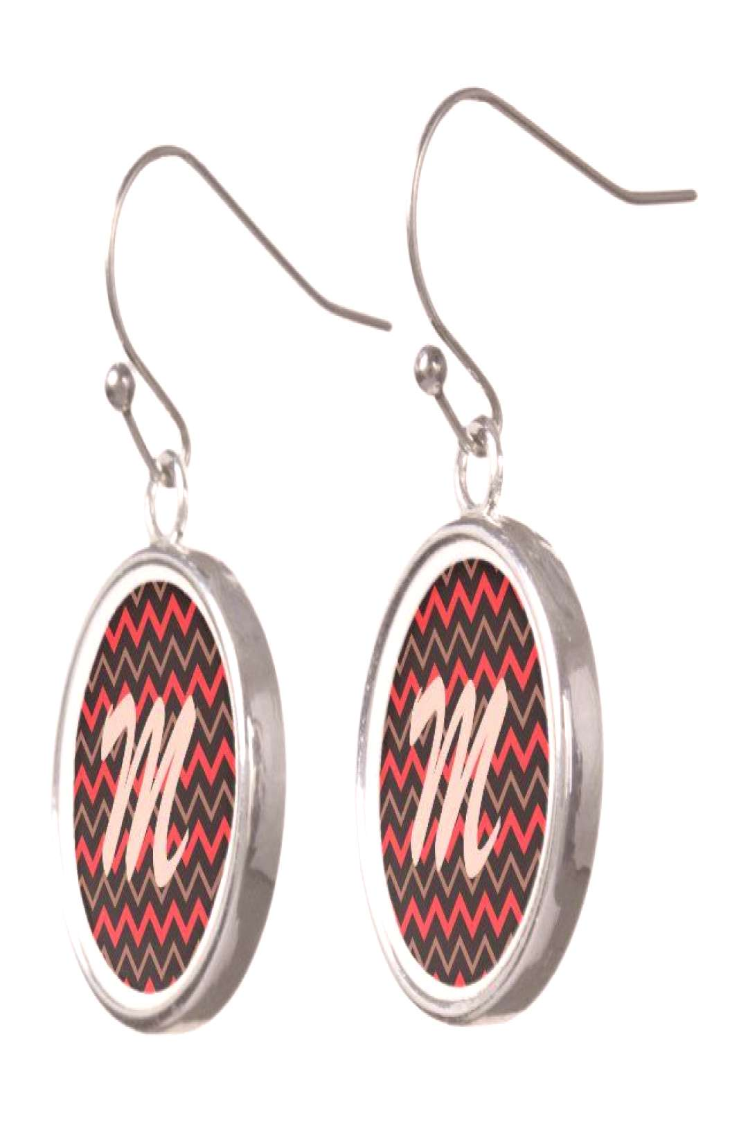 Red, Brown and Black Chevron Earrings ,